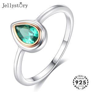 Jellystory Hot Selling Water Drop Shape Green Emerald Gemstone 925 Silver Ring for Woman Wedding Engagement Innrech Market.com