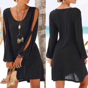 KANCOOLD dress Fashion Women Casual O Neck Hollow Out Sleeve Straight Dress Solid Beach Style Mini Innrech Market.com