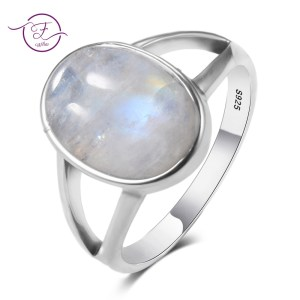 New Vintage Fine Jewelry Hollow Out 10x14MM Big Natural Rainbow Moonstone Rings 925 Sterling Silver For Innrech Market.com