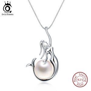 ORSA JEWELS 925 Sterling Silver Women Necklaces Pendants Freshwater Pearls Unique Mermaid Pendants Fashion Female Jewelry Innrech Market.com