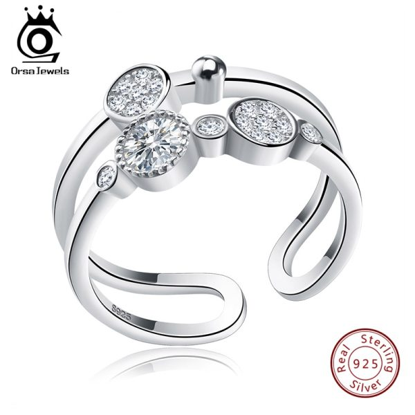 ORSA JEWELS Unique Bridal Set 925 Sterling Silver Resizable Classic Rings Fashion Band Propose Rings for ORSA JEWELS Unique Bridal Set 925 Sterling Silver Resizable Classic Rings  Fashion Band Propose Rings for Women SR20