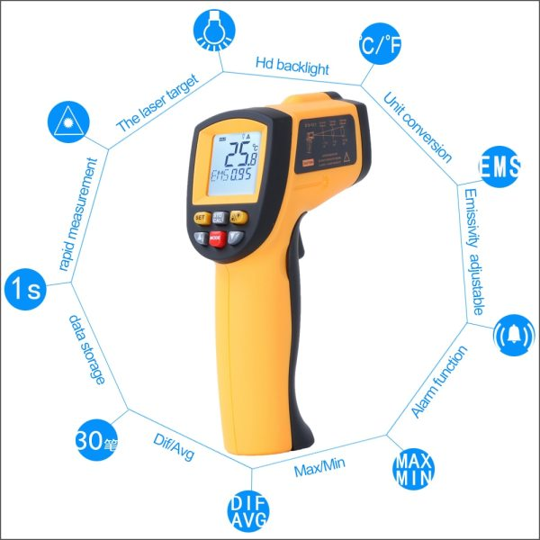 RZ IR Infrared Thermometer Thermal Imager Handheld Digital Electronic Outdoor Non Contact Laser Pyrometer Point Gun 4 RZ IR Infrared Thermometer Thermal Imager Handheld Digital Electronic Outdoor Non-Contact Laser Pyrometer Point Gun Thermometer