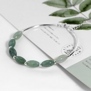 Ruifan 925 Sterling Silver Bracelets Ladies Natural Green Jade Oval Waterdrop Lucky Bead Charms Women s Innrech Market.com
