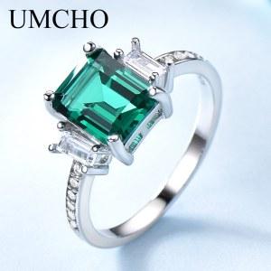 UMCHO Green Emerald Genuine 925 Sterling Silver Rings for Women Promise Princess Gemstone Ring Wedding Romantic Innrech Market.com