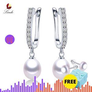 Women Freshwater Pearl Earrings Zircon Fashion 925 Sterling Silver Drop Earring White Real Pearl Wedding Jewelry Innrech Market.com