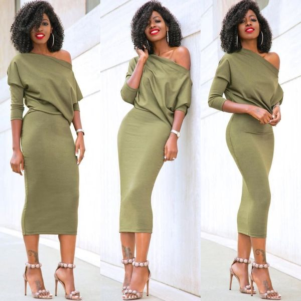 arrival Women s Casual Long Sleeve Off Shoulder Pencil Dress Bandage Bodycon Evening Party Dress Solid arrival Women's Casual Long Sleeve Off Shoulder Pencil Dress Bandage Bodycon Evening Party Dress Solid Black Green