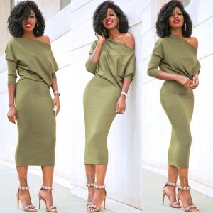 arrival Women s Casual Long Sleeve Off Shoulder Pencil Dress Bandage Bodycon Evening Party Dress Solid Innrech Market.com