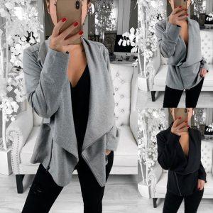 15 Autumn Irregular Long Sleeve Leather Front Short Cardigan Suit Jacket Work Office Coat 2018 Women Innrech Market.com