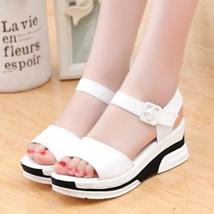 2019 Summer shoes woman Platform Sandals Women Soft Leather Casual Open Toe Gladiator wedges Trifle Mujer Innrech Market.com