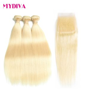 613 Blonde Bundles With Closure Brazilian Straight Hair Bundles With Closure Remy Human Hair Weave Innrech Market.com