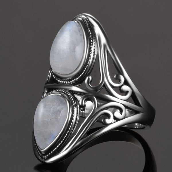925 Sterling Silver Rings Original Design Vintage Natural Rainbow Moonstone Ring For Women Men Female Fine 2 925 Sterling Silver Rings Original Design Vintage Natural Rainbow Moonstone Ring For Women Men Female Fine Jewelry Gifts