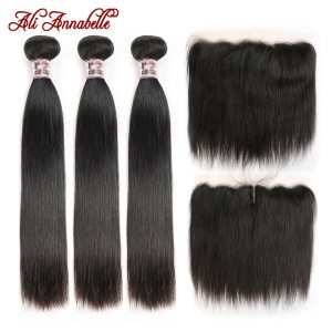 ALI ANNABELLE HAIR Straight Brazilian Human Hair Bundles With Transparent Lace Frontal Medium Brown 3 Bundles Innrech Market.com
