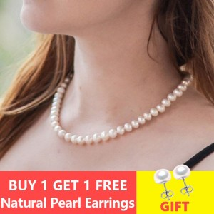 ASHIQI Real Natural Freshwater Pearl choker Necklace 8 9mm White Near Round Pearl Jewelry Gifts for Innrech Market.com