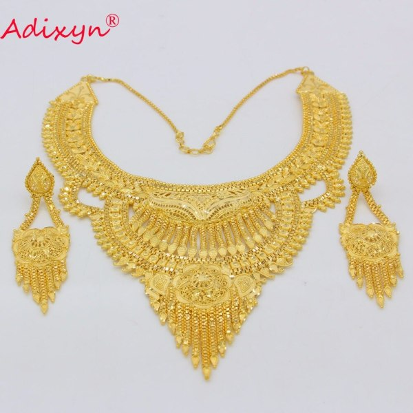 Adixyn Fashion African India Necklace Earrings Jewelry Set For Women Gold Color Arab Wedding Party Birthday 3 Adixyn Fashion African India Necklace Earrings Jewelry Set For Women Gold Color Arab Wedding/Party/Birthday Bride Gifts N031292