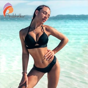 Andzhelika Bikinis Women Bandage Swimsuit Bikini 2019 Sexy Push Up Swimwear Low Waist Bathing Suit Halter Innrech Market.com
