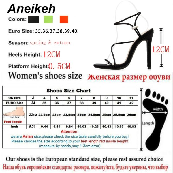 Aneikeh 2019 New Fashion Sandals Ankle Strap Cross Strap Woman Sandals 12CM High Heels Narrow Band 5 Aneikeh 2019 New Fashion Sandals Ankle Strap Cross-Strap Woman Sandals 12CM High Heels Narrow Band Slip-On Sandals Dress Pumps