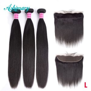 Ashimary Malaysian Straight Hair 13x4 Lace Frontal Closure with Bundles Remy Human Hair Bundles with Lace Innrech Market.com