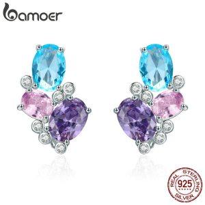 BAMOER Classic 100 925 Sterling Silver Colorful Zircon Geometric Earrings Simple Stud Earrings for Women Silver Innrech Market.com