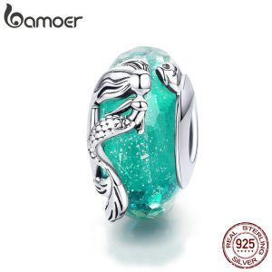 BAMOER Glass Beads 925 Sterling Silver Mermaid Sea Blue Murao Handmade Charm fit for Necklace Women Innrech Market.com