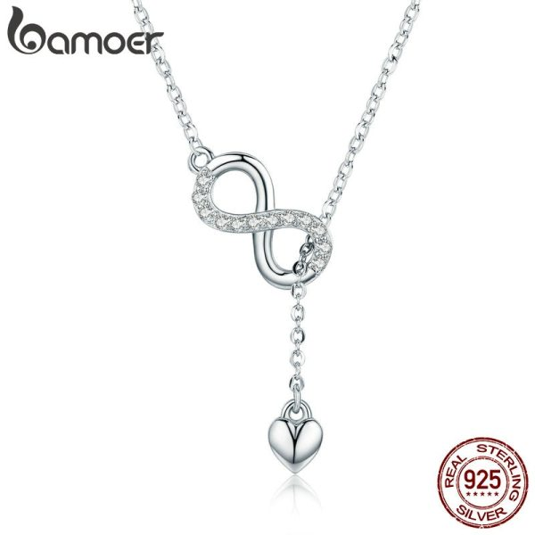 BAMOER Hot Sale 100 925 Sterling Silver Infinity Forever Love Chain Pendant Necklaces for Women Sterling BAMOER Hot Sale 100% 925 Sterling Silver Infinity Forever Love Chain Pendant Necklaces for Women Sterling Silver Jewelry SCN223