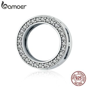 BAMOER Hot Sale Authentic 925 Sterling Silver Clear Zircon Round Circle Beads Charm fit Women Bracelets Innrech Market.com