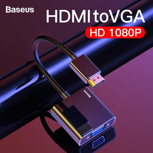 Baseus HDMI to VGA Cable HDMI VGA Adapter Digital HDMI to VGA Jack 3 5 mm Baseus HDMI to VGA Cable HDMI VGA Adapter Digital HDMI to VGA Jack 3.5 mm Converter Video Aux Audio Splitter For Laptop PS4 TV