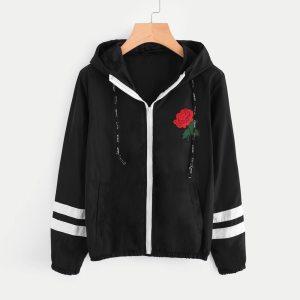 Black Coat Women Outwear Long Sleeve Rose Thin Skinsuits Hooded Zipper Floral Pockets Sport Coat Ladies Innrech Market.com