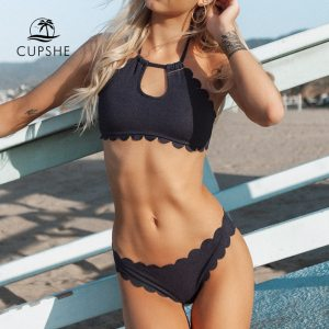 CUPSHE Dark Blue Halter Bikini Set Women Cutout Backless Crop Top Two Pieces Swimwear 2019 Girl Innrech Market.com