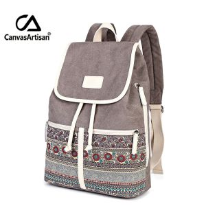 Canvasartisan Top Quality Canvas Women Backpack Casual College Bookbag Female Retro Stylish Daily Travel Laptop Backpacks Innrech Market.com
