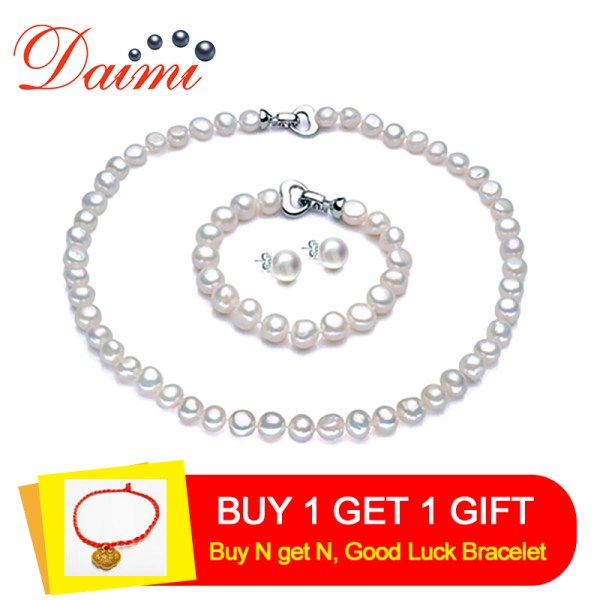 DAIMI Pearl Jewelry Sets Necklace Bracelet Earrings Baroque Pearl Sets For Women Party Jewelry Wedding Jewlery DAIMI Pearl Jewelry Sets Necklace Bracelet Earrings Baroque Pearl Sets For Women Party Jewelry Wedding Jewlery Christmas Gift
