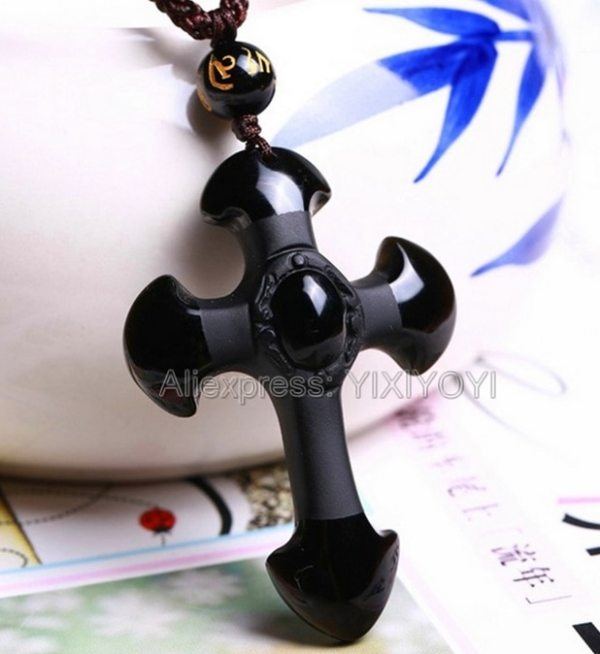 Drop Shipping Natural Black Obsidian Carved Cross Lucky pendant free beads necklace for woman man Hand 2 Drop Shipping  Natural Black Obsidian Carved Cross Lucky  pendant free beads necklace for woman man Hand carved Pendants Jewelry