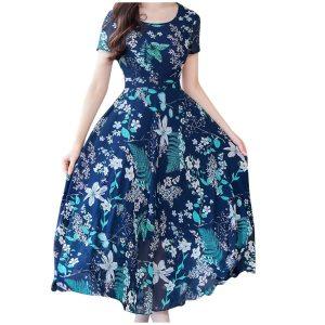 Elegant Dress Women Vintage Short Sleeve Floral Print Plus Size Dresses Women Beach Party Summer Long Innrech Market.com