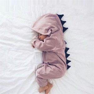 Emmababy Baby Boy Girl 3D Dinosaur Costume Solid pink gray Rompers warm spring autumn cotton romper Innrech Market.com