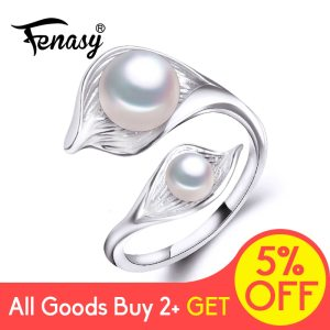 FENASY Natural Freshwater Double Pearl Ring Boho Fashion Leaf Statement Cocktail 925 Sterling Silver Rings For Innrech Market.com