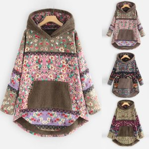 Female Jacket Plush Coat Womens Windbreaker Winter Warm Outwear Retro Print Hooded Pockets Vintage Oversize Coats Innrech Market.com