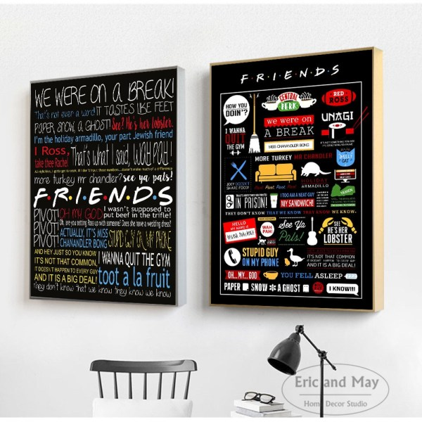 Friends TV Show Classic Quote Posters and Prints Wall art Decorative Picture Canvas Painting For Living 4 Friends TV Show Classic Quote Posters and Prints Wall art Decorative Picture Canvas Painting For Living Room Home Decor Unframed