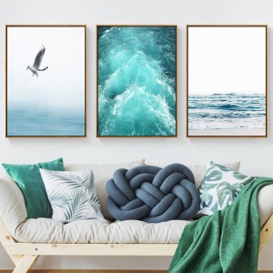 Gohipang Blue Sea And Sky Nordic Landscape Canvas Painting Free Seagull Waves Beach Art Poster Living 1 Innrech Market.com