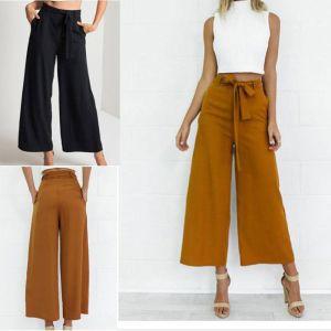 HIRIGIN Women Orange Wide Leg Chiffon Pants High Waist Tie Waist Trousers Palazzo Pants Long Culottes Innrech Market.com