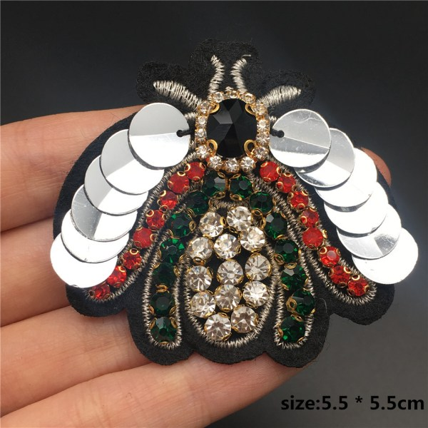 Handmade Rhinestone beaded sequin Patches BEES COOL FASHION Sew on Crystal pearl patch for clothes beaded 1 Handmade Rhinestone beaded&sequin Patches, BEES COOL FASHION Sew on Crystal pearl patch for clothes beaded Applique cute patch