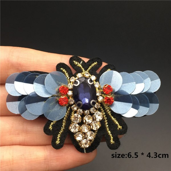 Handmade Rhinestone beaded sequin Patches BEES COOL FASHION Sew on Crystal pearl patch for clothes beaded 3 Handmade Rhinestone beaded&sequin Patches, BEES COOL FASHION Sew on Crystal pearl patch for clothes beaded Applique cute patch