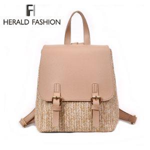 Herald Fashion Straw Woven Backpack Women Back Pack Autumn Teenage Girl Quality Backpacks Travel Bags Kawaii Innrech Market.com