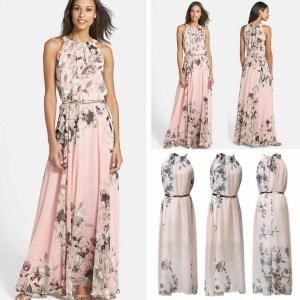 Hirigin 2019 Summer New Style Fashion Women Sleeveless Chiffon Casual Beach Long Floral Dress Party Dress Innrech Market.com