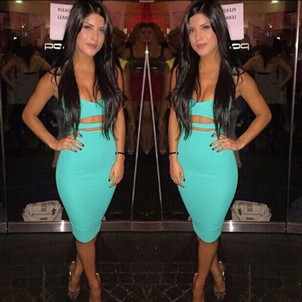 Hot Sexy Women Summer Slim Bodycon Hollow Out Skinny Sleeveless Evening Party Club Solid Strappy V 4 Hot Sexy Women Summer Slim Bodycon Hollow Out Skinny Sleeveless Evening Party Club Solid Strappy V-Neck Short Mini Dress