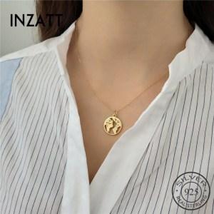 INZATT Unique Design Hollow Round World Map Bohemia Pendant Necklace 100 925 Sterling Silver Fine Jewelry Innrech Market.com