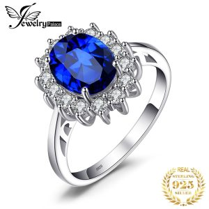 JewelryPalace Created Blue Sapphire Ring Princess Crown Halo Engagement Wedding Rings 925 Sterling Silver Rings For Innrech Market.com