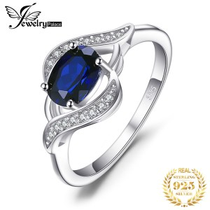 Jewelrypalace Created Blue Sapphire Ring 925 Sterling Silver Rings for Women Halo Engagement Ring Silver 925 Innrech Market.com
