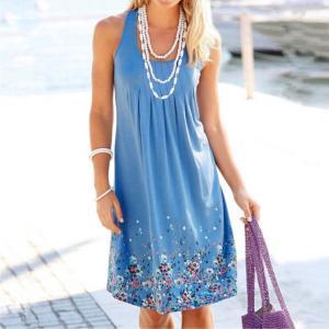 KANCOOLD dress Women Summer Brief Printing Sleeveless Evening Party Dress O Neck Loose Beach Vest dress Innrech Market.com