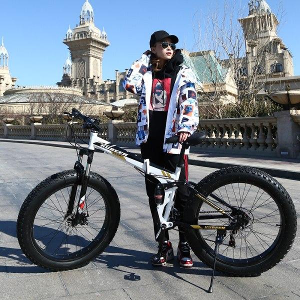KUBEEN Mountain Bike Super WideTire Bike Snowmobile ATV 26 4 0 Bicycle 7 21 24 27 4 KUBEEN Mountain Bike Super WideTire Bike Snowmobile ATV 26 * 4.0 Bicycle 7/21/24/27 Speed Shock Absorbers Bike