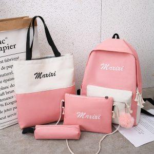 Litthing 4Pcs set Women School Backpacks Schoolbag For Teenagers Girls Student Book Bag Boys Satchel Bolsas Innrech Market.com