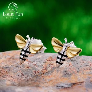 Lotus Fun Real 925 Sterling Silver Earrings Designer Fine Jewelry Lovely 18K Gold Honey Bee Stud Innrech Market.com
